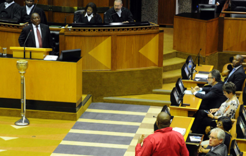 President Cyril Ramaphosa during oral replies at the National Assembly in Parliament, Cape Town.