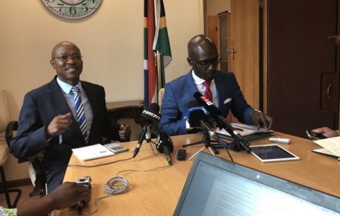 Home Affairs Minister Malusi Gigaba, with DG Mkuseli Apleni, briefs media in Cape Town on the Gupta naturalisation application.