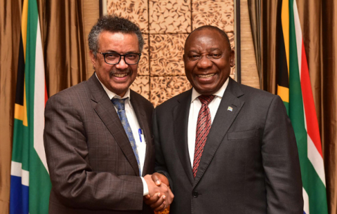 WHO DG Dr Tedros Adhanom Ghebreyesus meets President Ramaphosa on the sidelines of the 17th World Conference on Tobacco.