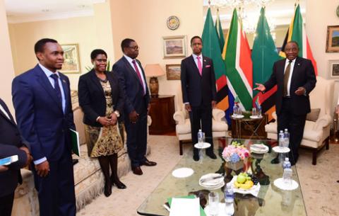 Senior members of government meet, including President Ramaphosa, meet Zambian President Edgar Lungu.
