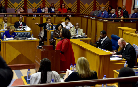 Communications Minister Nomvula Mokonyane and Deputy Minister Pinkie Kekana delivering the DOC\GCIS Budget vote in Parliament, Cape Town.