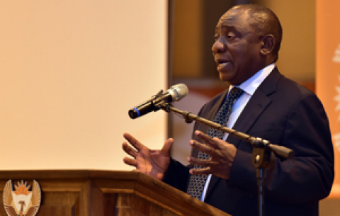 President Cyril Ramaphosa addresses CoGTA staff during his visit to the department in Pretoria.