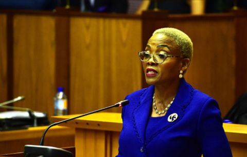 Communications Deputy Minister Pinky Kekana delivering the DOC\GCIS Budget vote in Parliament, Cape Town.