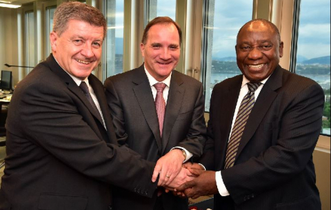 Swedish Prime Minister Stefan Lofven (middle) joins President Ramaphosa and ILO DG Guy Ryder during their bilateral talks ahead of the meeting of the Global Commission of Future of Work.