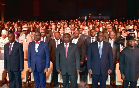 President Cyril Ramaphosa, with African Heads of State, at the official opening of the inaugural session of the African Development Bank's Africa Investment Forum at the Sandton Convention Centre.