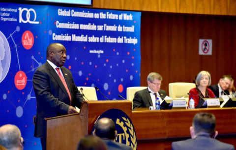 President Cyril Ramaphosa addressing the official launch of the Global Commission on the Future of Work report at the ILO headquarters in Geneva, Switzerland.