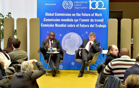 President Cyril Ramaphosa and the DG of the ILO Guy Ryder launch the Global Commission on the Future of Work report at the headquarters of the ILO in Geneva, Switzerland.