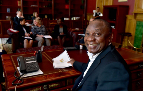 President Ramaphosa putting the final touches to his State of the Nation Address at his official residence in Genadendal in Cape Town
