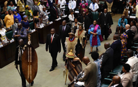 President Cyril Ramaphosa at the annual official Opening of the NHTL in the Old Assembly Chamber in Parliament, Cape Town.