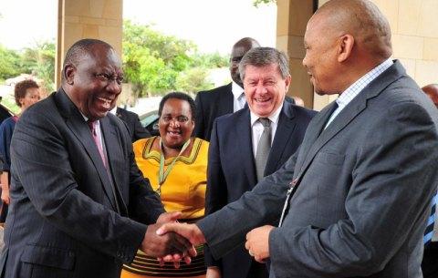 President Ramaphosa, Labour Minister Mildred Oliphant, Labour Deputy Minister Phathekile Holomisa and ILO DG Guy Ryder at the national launch of the Global Commission on the Future of Work Report in KZN.