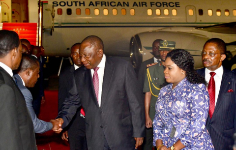 The President is welcomed by Prime Minister Franscisco Pascual Obama Asue on arrival at Malabo International Airport.