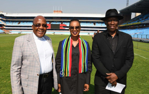 Health Minister Aaron Motsoaledi, Communications Minister Stella Ndabeni-Abrahams and Police Minister Bheki Cele inspect Loftus Versfeld ahead of the 25 May inauguration.