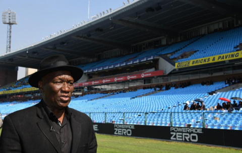Police Minister Bheki Cele inspects Loftus Versfeld ahead of the 25 May inauguration.