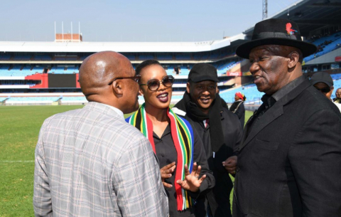 Health Minister Aaron Motsoaledi, Communications Minister Stella Ndabeni-Abrahams, the GCIS's Lennox Mabaso and Police Minister Bheki Cele inspect Loftus Versfeld ahead of the 25 May inauguration.