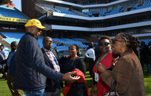 Presidency DG Cassius Lubisi, GCIS acting DG Phumla Williams, Parliament Deputy Secretary Baby Tyawa inspect Loftus Versfeld Stadium ahead of the 25 May inauguration.