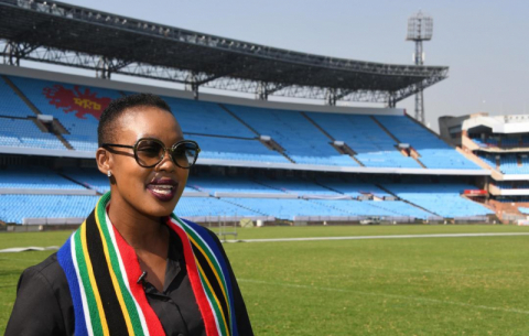Communications Minister Stella Ndabeni-Abrahams inspects Loftus Versfeld Stadium ahead of the 25 May inauguration.