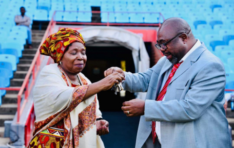 Minister in the Presidency Nkosazana Dlamini-Zuma and Public Works Minister Thulas Nxesi at the key handover ceremony at Loftus Versfeld Stadium ahead of the 25 May inauguration.