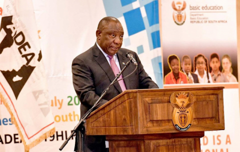 President Ramaphosa delivers a welcome message to the first high-level dialogue of the Association for the Development of Education in Africa (ADEA).