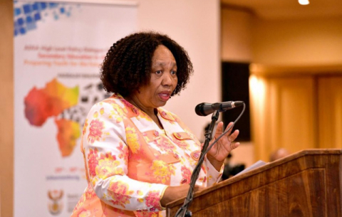 Basic Education Minister Angie Motshekga at the first high-level dialogue of the Association for the Development of Education in Africa (ADEA).
