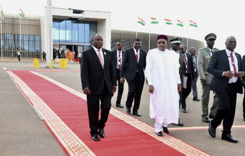 President Cyril Ramaphosa  meeting with the President of The Republic of Niger Mahamadou Issoufou on conclusion of the 12th Extraordinary Summit of African Union in Niger.