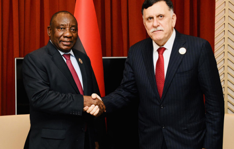 President Cyril Ramaphosa  meeting with Libyan  Prime Minister Fayez Mustafa al-Sarraj on the sidelines of the 12th Extraordinary Summit of African Union in Niger.