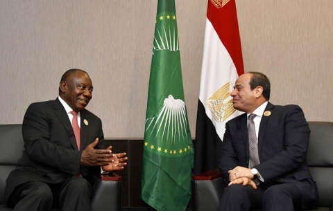 President Cyril Ramaphosa  meeting with President of the Arab Republic of Egypt and Chairperson of the African Union, Abdel Fattah el-Sisi on the sidelines of the 12th Extraordinary Summit of African Union in Niger.