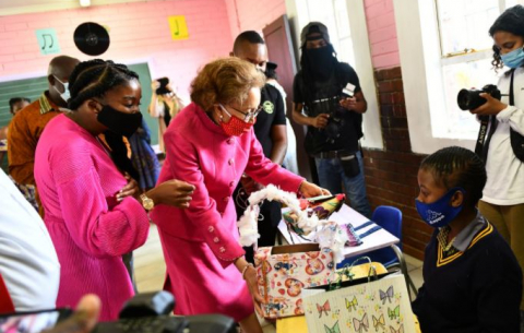 "First Lady Dr Tshepo Motsepe inspects Art Hub at Khatlamping Primary School ""Pink Room"" Safe Space Initiative launch."