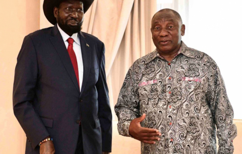President Ramaphosa receives courtesy call from President Salva Kiir Myardit of South Sudan during his three-day working visit to SA.