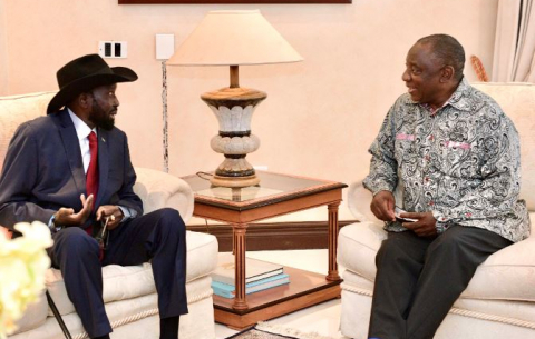 President Ramaphosa receives courtesy call from President Salva Kiir Myardit of South Sudan.