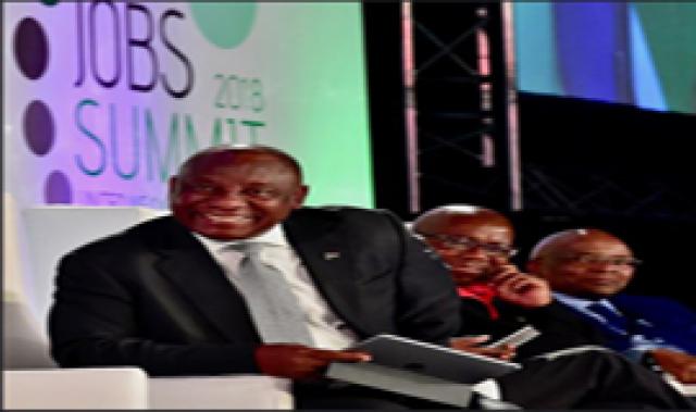 President Ramaphosa at the Jobs Summit.