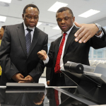 Minister of Home Affairs Naledi Pandor, Deputy President Kgalema Motlanthe and Chief executive Officer of GPW Prof. Anthony Mbewu inspecting equipment to be used for producing Smart Identity Cards at Government Printing Works in Pretoria ahead of the official launch on Nelson Mandela Day. Source: GCIS