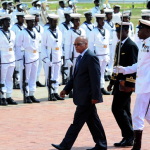 President Zuma inspecting the military guard at Flagstaff House during in Ghana. Source: GCIS