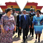 President Zuma and the SA delegation at a tour of Kwame Nkrumah Memorial Park. Source: GCIS