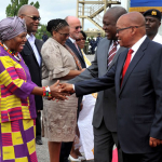 President Zuma and Ghanaian President Dramani Mahama shaking hands with SA High Commissioner to Ghana Jeanett Ndlovu and the SA delegation at the end of the State visit in Ghana. Source: GCIS