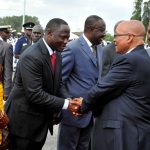 President Zuma and Ghanaian President Dramani Mahama shaking hands with the Ghanaian delegation at the end of his State Visit in Ghana. Source: GCIS