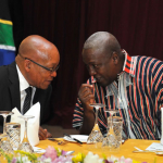 President Zuma with Ghanaian President Dramani Mahama at the gala dinner hosted by President Dramani Mahama at the State House during President Zuma's State Visit. Source: GCIS