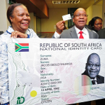 President Jacob Zuma receives his Smart ID Card from Minister of Home Affairs Naledi Pandor at Byron House in Pretoria. Source: GCIS