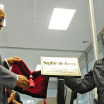President Jacob Zuma and Sophie De Bruyn. President Jacob Zuma renames four machines at Government Printing Works after the stalwarts of the Women's March to Pretoria which took place on 9 August 1956. Source: GCIS