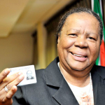 Minister of Home Affairs Naledi Pandor with her smart ID card. Source: GCIS