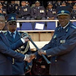 Minister Fikile Mbalula bestows the Sword of Command to the newly appointed National Commissioner