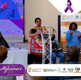 Social Development Deputy Minister, Hendrietta Bogopane-Zulu, at the World Alzheimer's Day dialogues in the Eastern Cape.