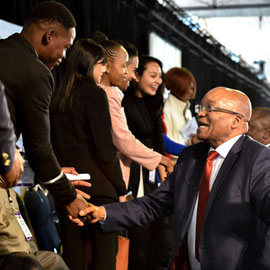 President Zuma greeting young entrepreneurs on Youth Day