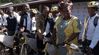 Minister Faith Muthambi hands over bicycles to learners of Kwambonambi