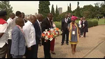 Wreath laying ceremony at Mandela statue