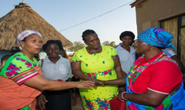 Minister Muthambi (centre) in Xigalo to hand over set-top boxes for DTT campaign