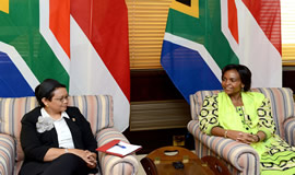 International Relations and Cooperation Minister Maite Nkoana-Mashabane and Indonesia Foreign Minister Retno Marsudi. DIRCO