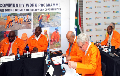 Public Works Minister Thulas Nxesi and Deputy President Cyril Ramaphosa chairing  Public Employment  Programme-Interministerial Committee (PEP-IMC) at Orange Farm Skill Centre. GCIS